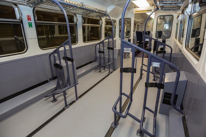 The interior of one of ScotRail's Highland Explorer Class 153s