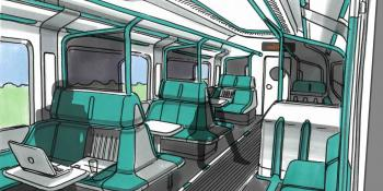 Perch seats could provide more space for working in future train interiors.