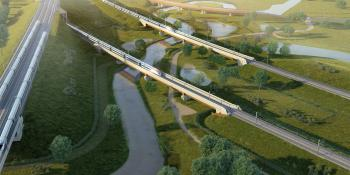 An aerial impression of the HS2 Coleshill viaducts