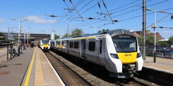 GTR Class 700 EMUs Nos 700027 and 700134 await departure from Bedford on 17 May 2020