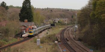 A pair of TPE Class 185s pass Dore & Totley with the 09.18 Manchester-Cleethorpes on April 24 2021.