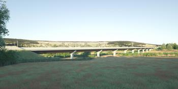 A computer-generated image of High Speed 2's Wendover Dean viaduct.