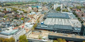 London Euston station. The HS2 station left of the existing building is being cut back to 10 platforms.