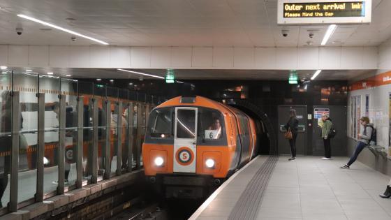 Glasgow Subway car No 109 calls at Buchanan Street on 14 March 2019.
