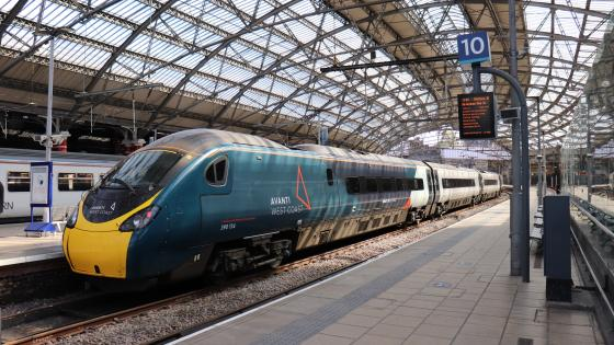 Avanti West Coast No 390134 awaits departure from Liverpool Lime Street with April 22 2021's 11.47 Liverpool-London Euston.