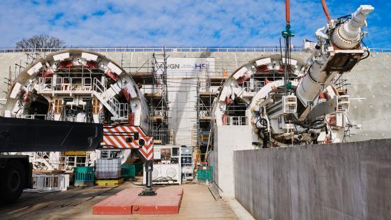 Scaffolding around the Chiltern Tunnel TBMS