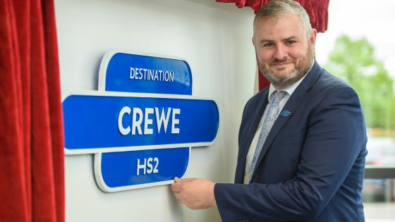 HS2 Minister Andrew Stephenson unveils a plaque at Crewe station